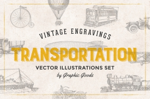 68 Transportation Vintage Engravings