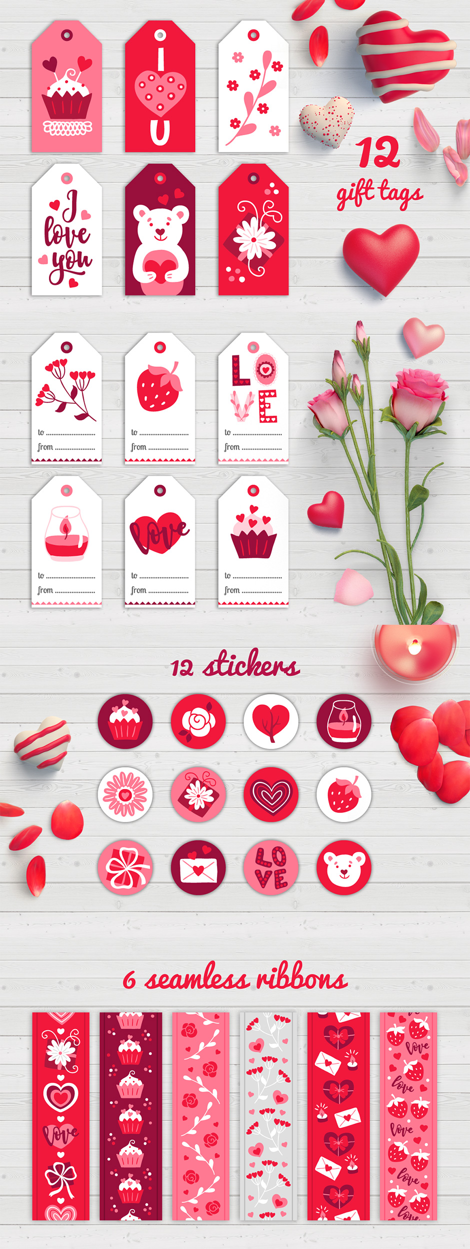 Valentine Gift Tags, Stickers And Tapes