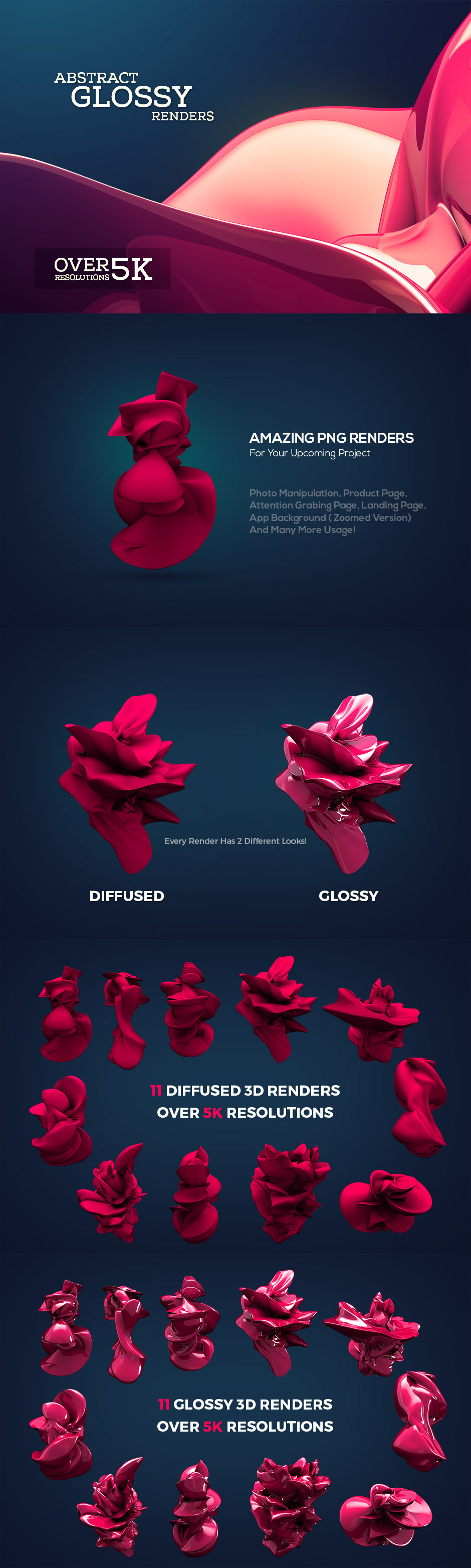 Abstract Glossy 3D Renders