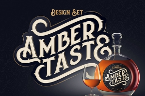 Amber Taste: Vintage Decorative Font & Label Mockup