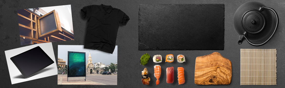 Food Scene Creator Items, Sign and Device Mockups & Displacement Maps