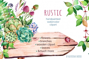 Rustic Floral Watercolor Set