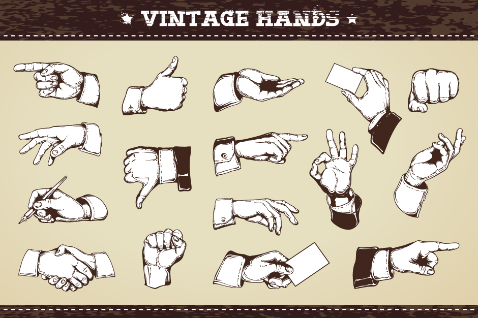 Vintage Hands Vector Icons