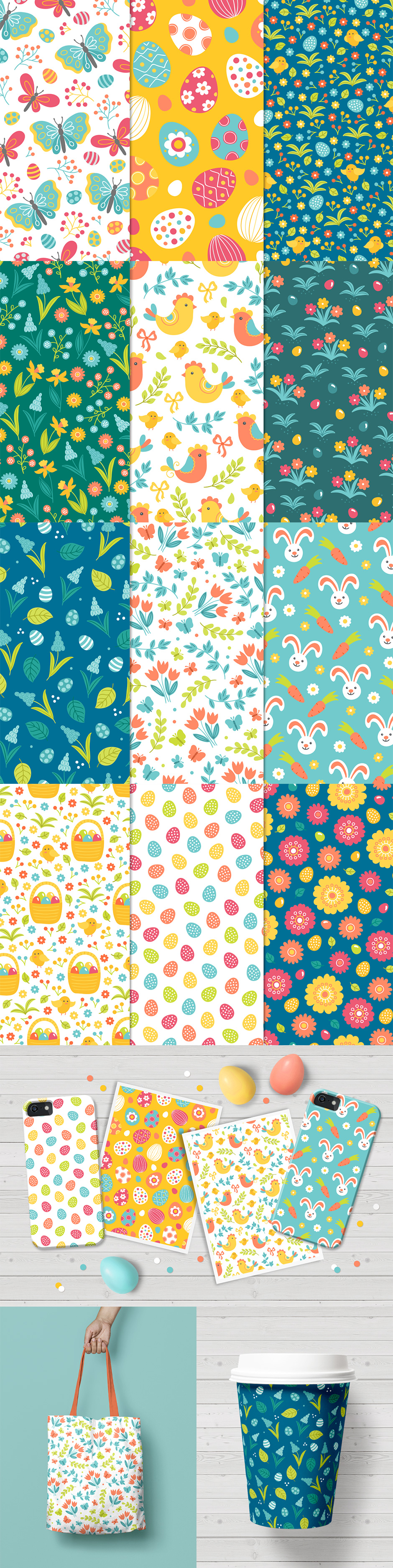 12 Seamless Easter Patterns