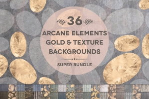 36 Arcane Elements Watercolor Gold