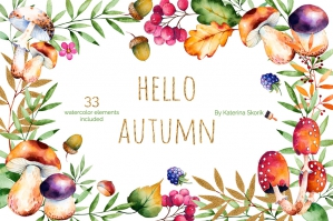 Hello Autumn Watercolor Graphics Collection