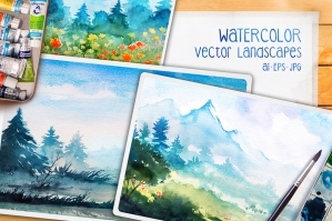 Vector Watercolor Landscapes Vol. 2