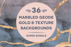 36 Marbled Geode Gold Patterns & Backgrounds