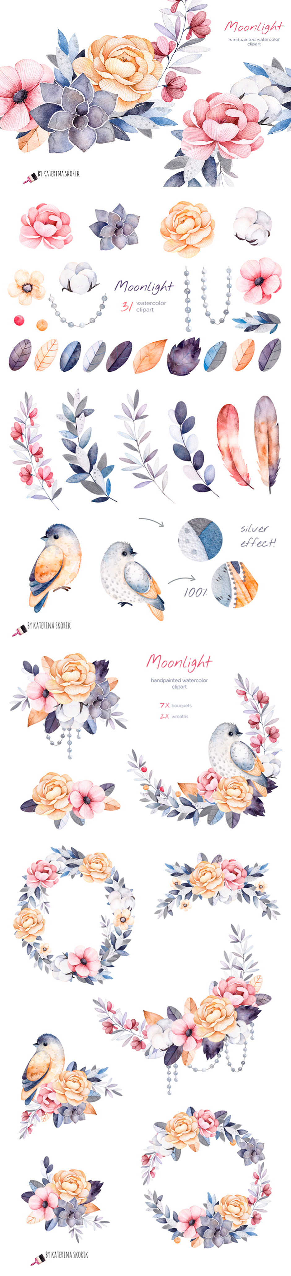 Moonlight: Handpainted Watercolor Collection