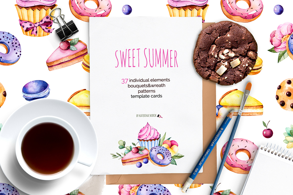 Sweet Summer Watercolor Collection