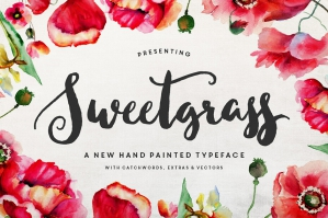 Sweetgrass Hand Painted Typeface & Floral Vectors
