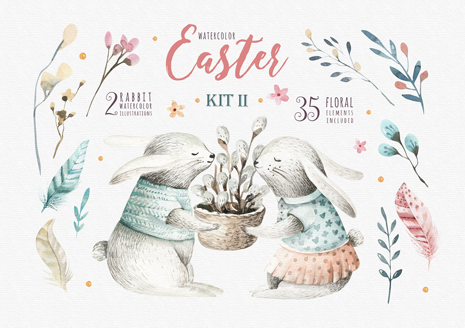 Happy Easter with Bunnies 2