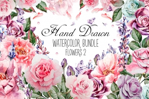 Hand Drawn Flowers 2: Watercolor Bundle