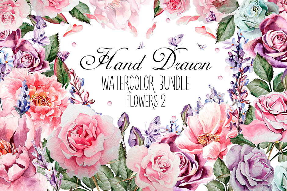 Hand-drawn Watercolor Bundle Flowers 2