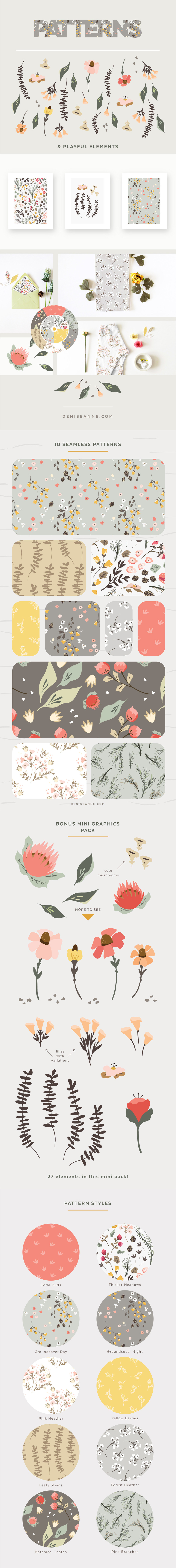 Thicket Thatch: Forest Floral Graphics and Patterns