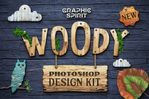 Woody Photoshop Wooden Design Kit