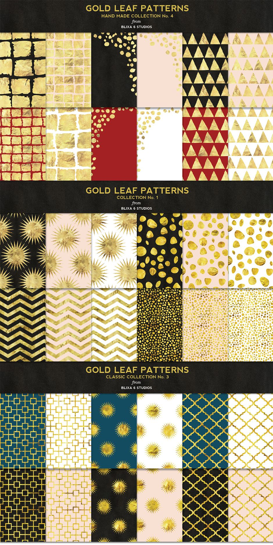 36 Gold Leaf Patterns Super Bundle