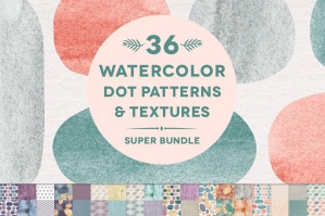 36 Watercolor Dot Patterns & Textures
