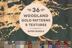 36 Woodland Gold Patterns & Textures