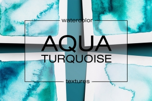 Aqua Watercolor Collection Aqua Turquoise