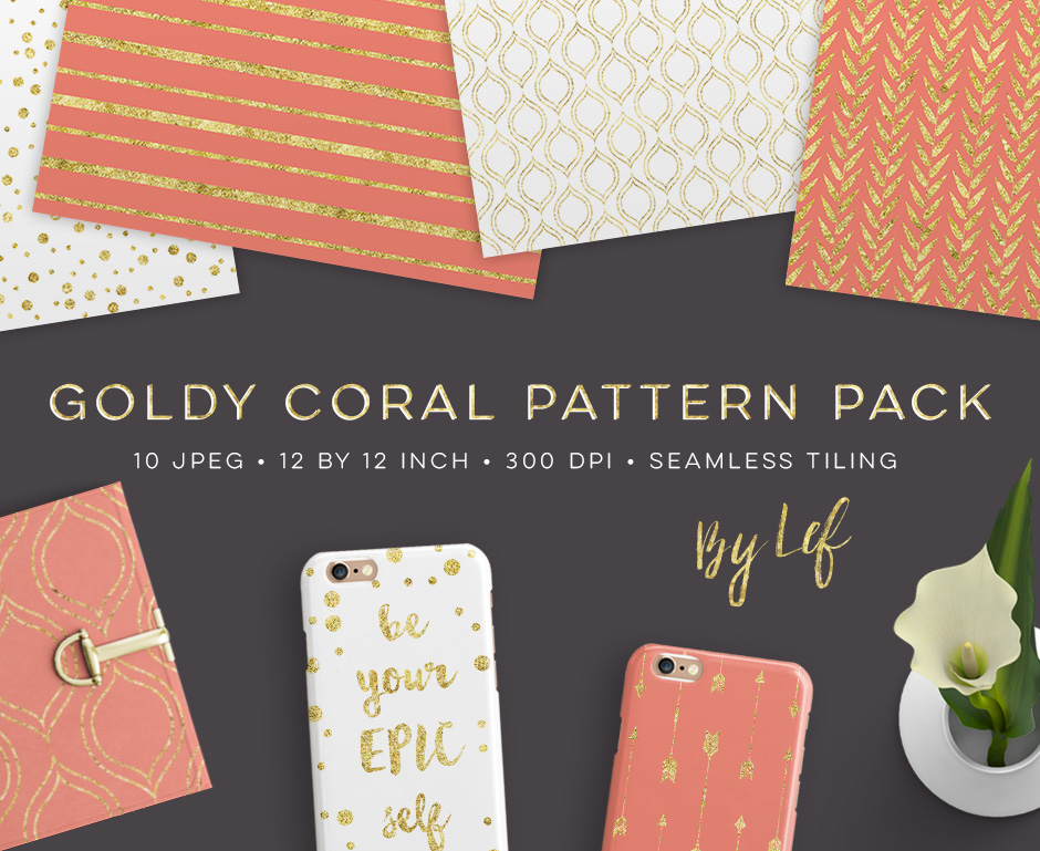 Gold and Coral Patterns Pack