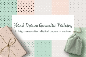 Geometric Hand Drawn Pastel Patterns