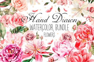 Hand Drawn Watercolor Flowers Bundle