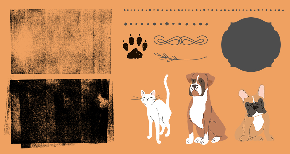 Borders, Shapes, Dividers, Illustrated Pets, Textures, Patterns