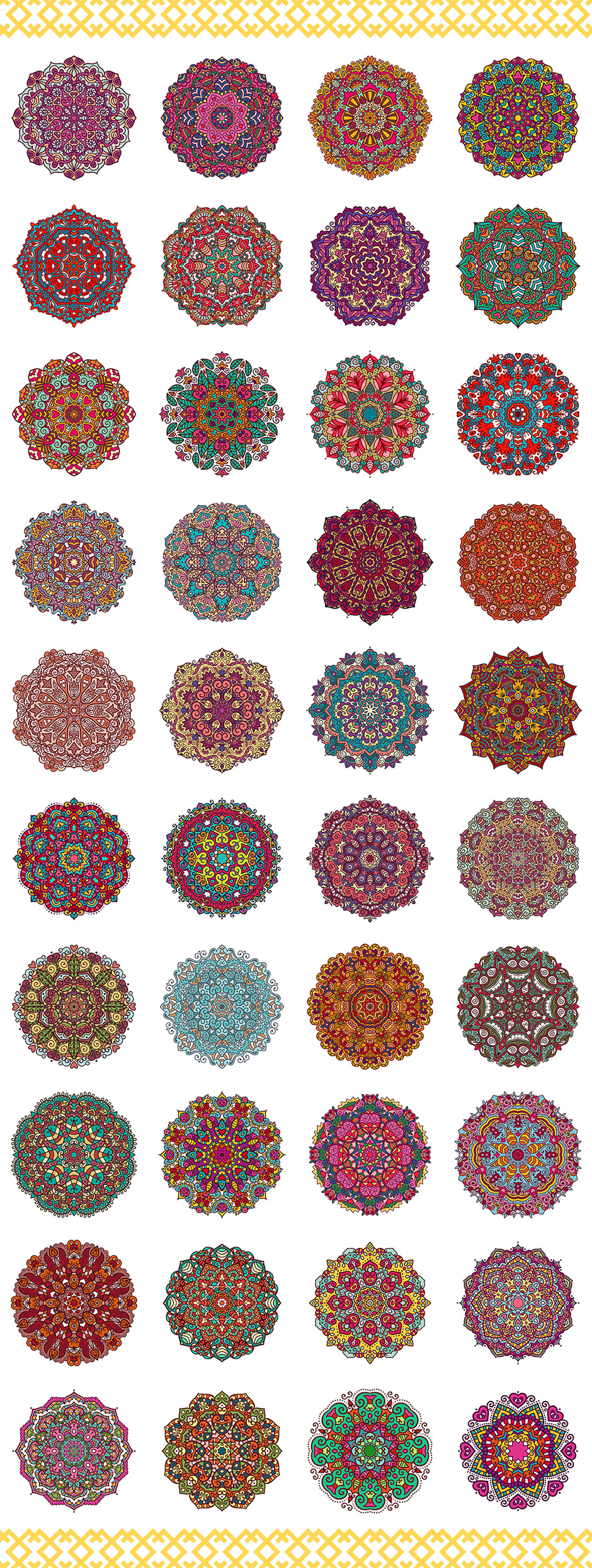 80 Vector Vintage Mandala Ornaments