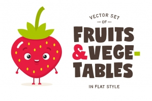 Cartoon Fruits & Vegetables Vector Set