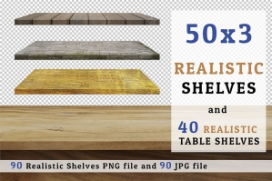 90 Realistic Digital Shelves & Tables Set 04