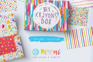 Seamless Hand Drawn Crayon Patterns