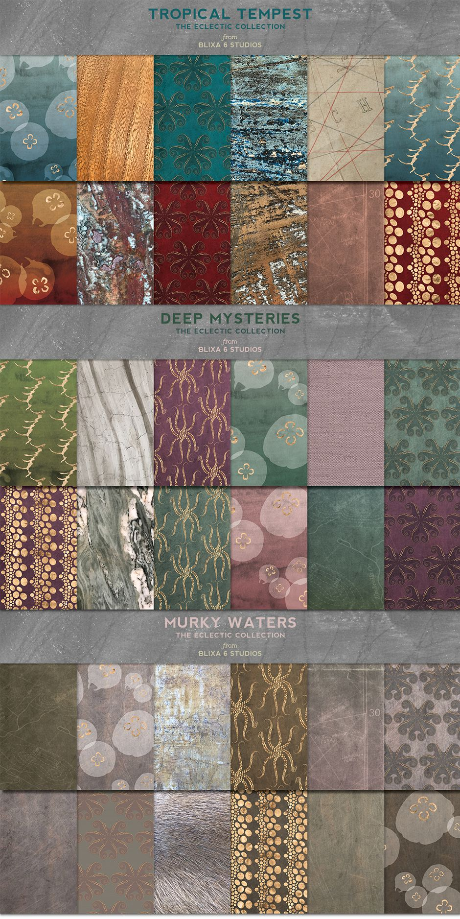 36 Deep Waters Gold Patterns & Textures