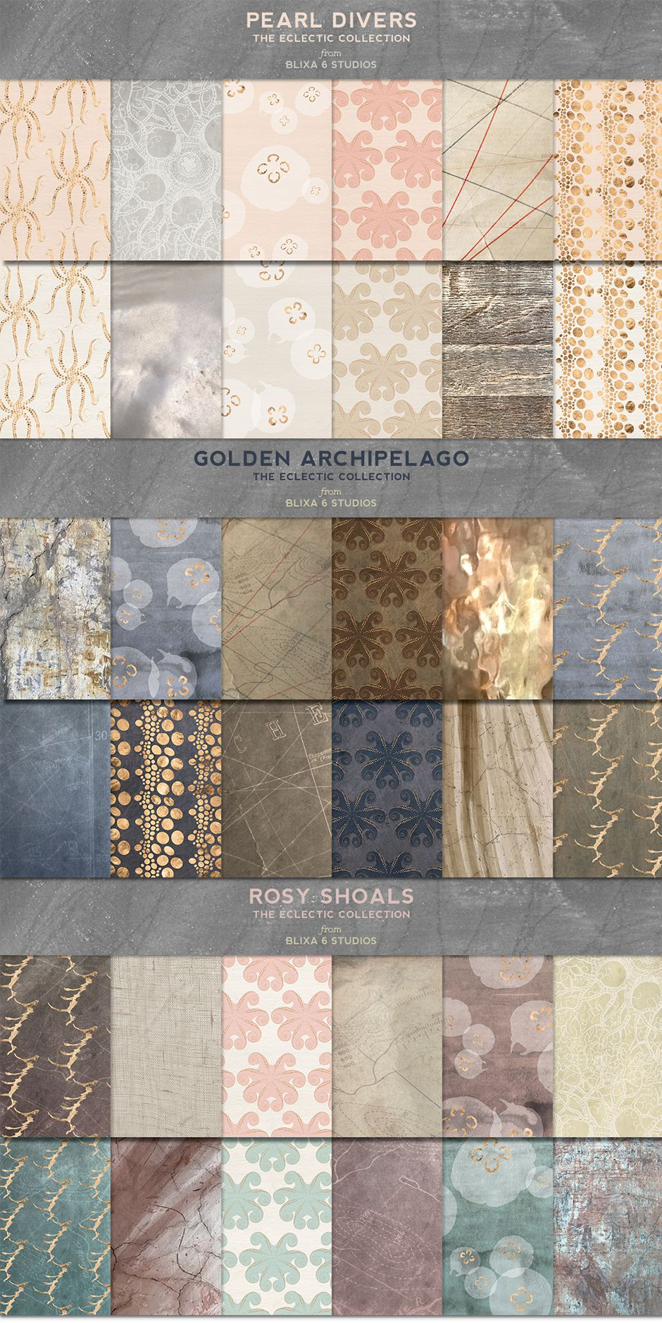 36 Watery Gold Patterns & Textures