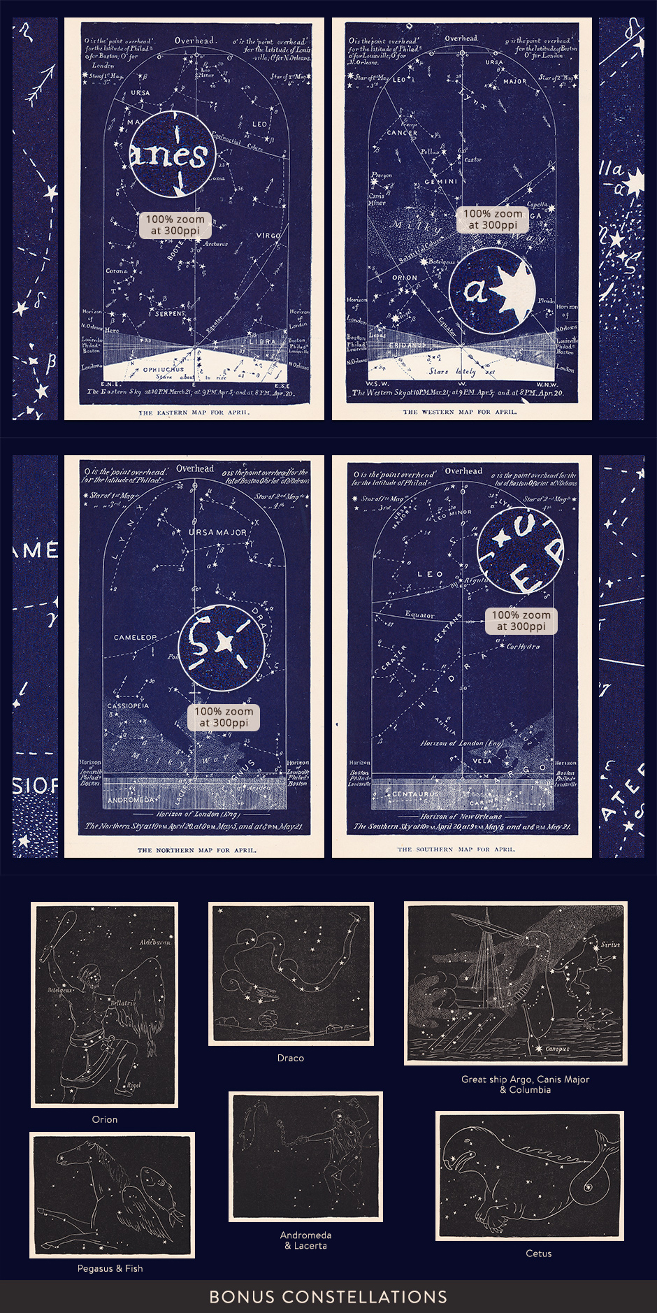 Vintage Star Maps January - April