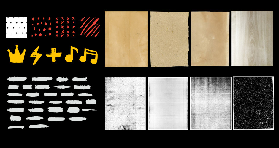 High Resolution Textures, Hand-Drawn Graphics, Patterns and Vector Brush Strokes