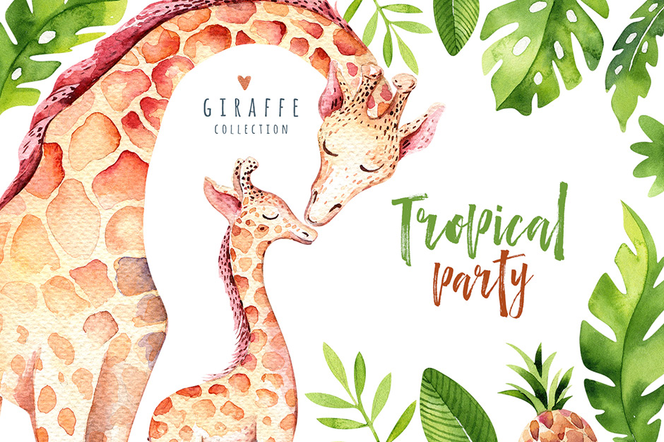 Giraffe Collection Tropical Illustrations Party