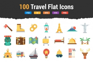 100 Travel Flat Icons
