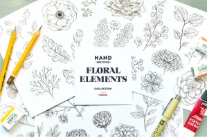 Hand-sketched Floral Elements Kit