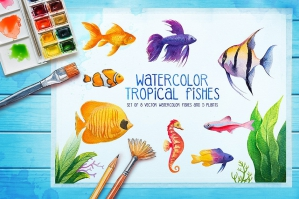 Watercolor Fish and Aquarium Graphics