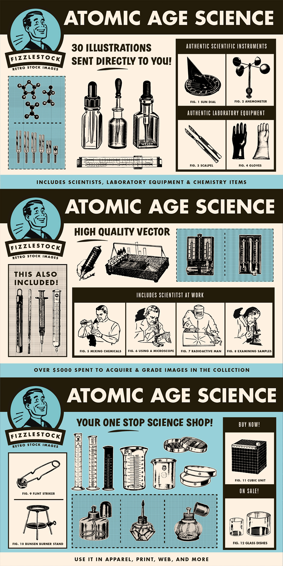 Atomic Age Science Clip Art