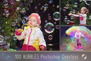 100 Bubbles Photoshop Overlays