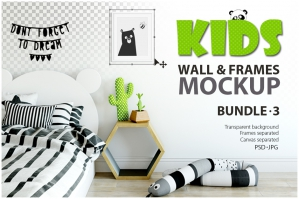 Kids Wall & Frames Mockup Bundle 3