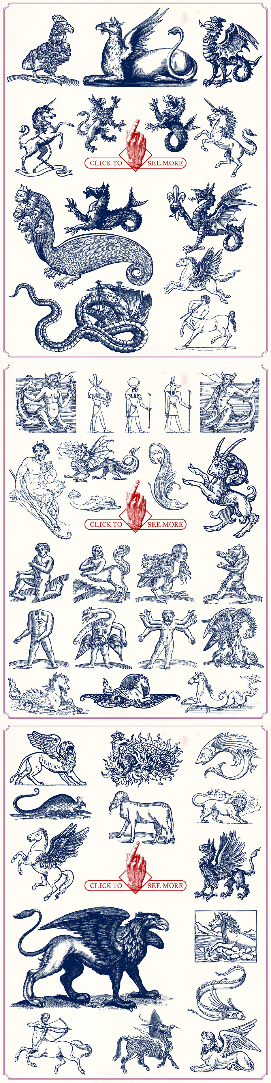 vintage mythological beasts