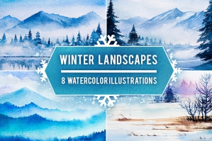 Watercolor Winter Landscapes Vol.2