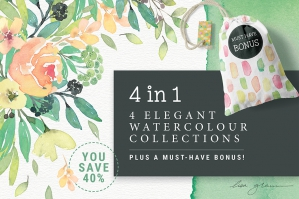 4 in 1 Elegant Watercolour Collections