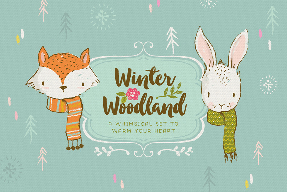Winter Woodland Animal Illustrations Mini Kit
