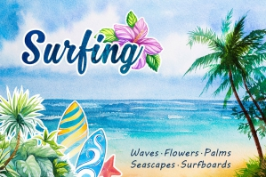 Surfing Watercolor Set