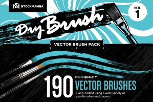Dry Brush Vector Brush Pack – Volume 1
