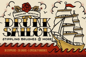 Drunk Sailor | Vector Stippling Brushes & More